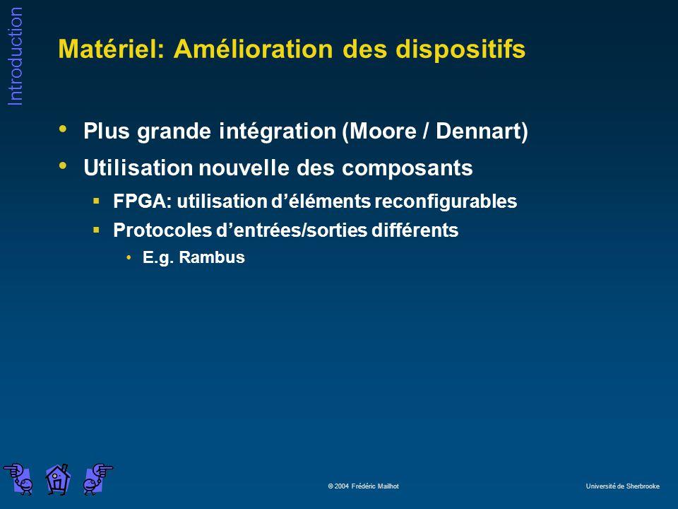 Introduction © 2004 Frédéric Mailhot Université de Sherbrooke Matériel: Amélioration des dispositifs Plus grande intégration (Moore / Dennart) Utilisation nouvelle des composants FPGA: utilisation déléments reconfigurables Protocoles dentrées/sorties différents E.g.