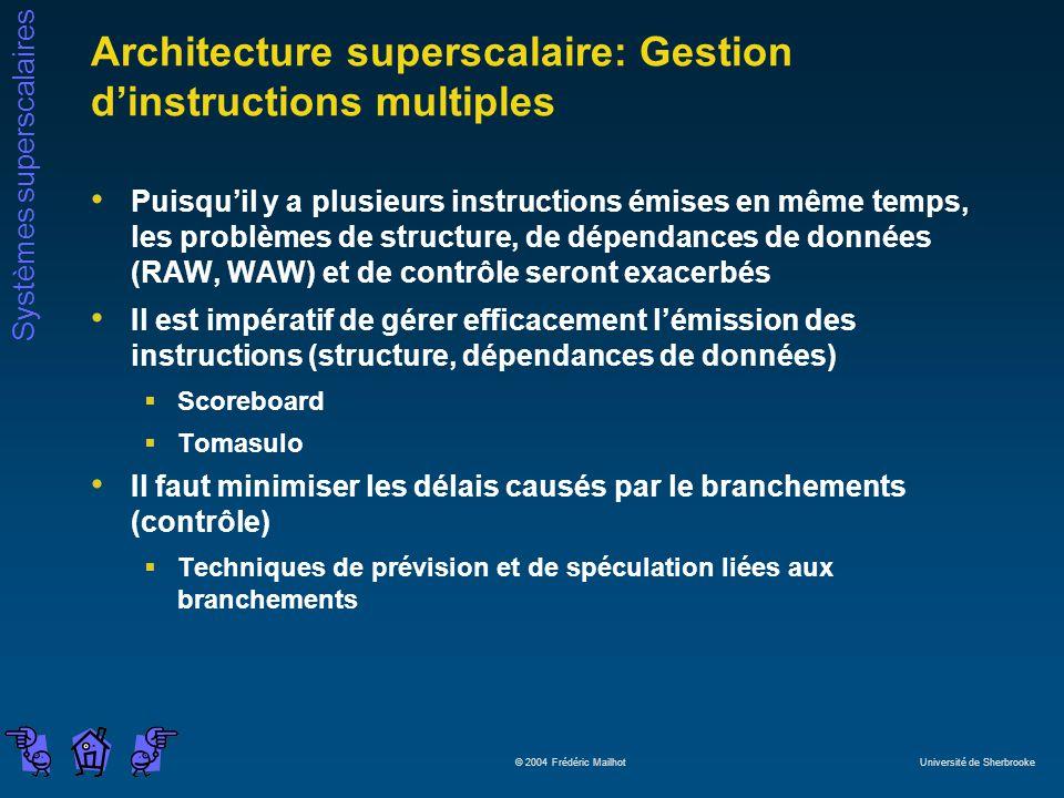 Systèmes superscalaires © 2004 Frédéric Mailhot Université de Sherbrooke Architecture superscalaire: Gestion dinstructions multiples Puisquil y a plus