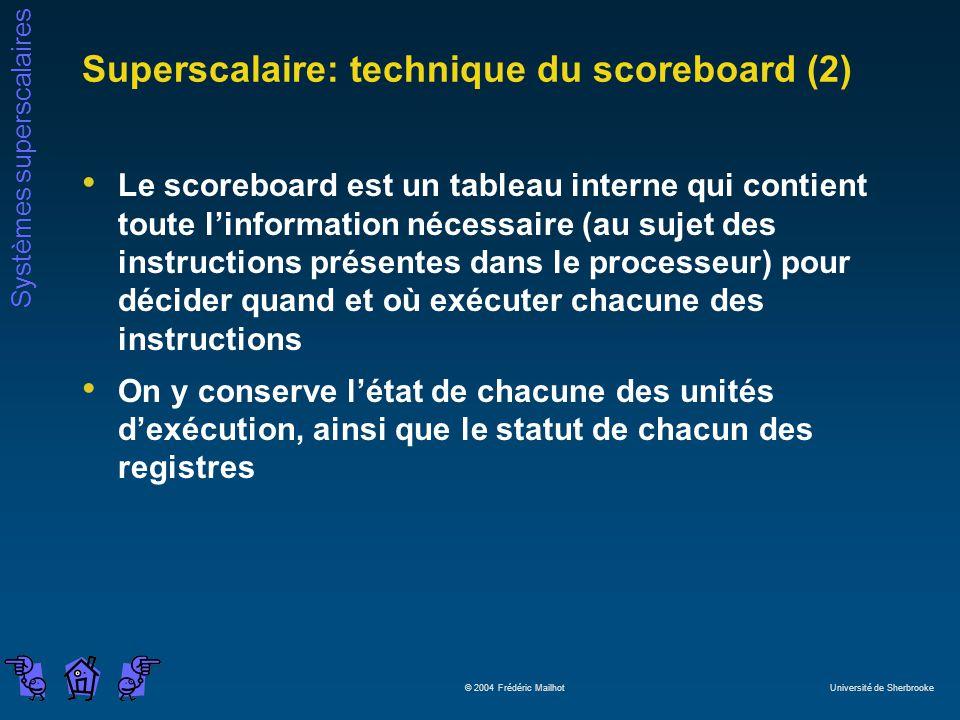 Systèmes superscalaires © 2004 Frédéric Mailhot Université de Sherbrooke Superscalaire: technique du scoreboard (2) Le scoreboard est un tableau inter
