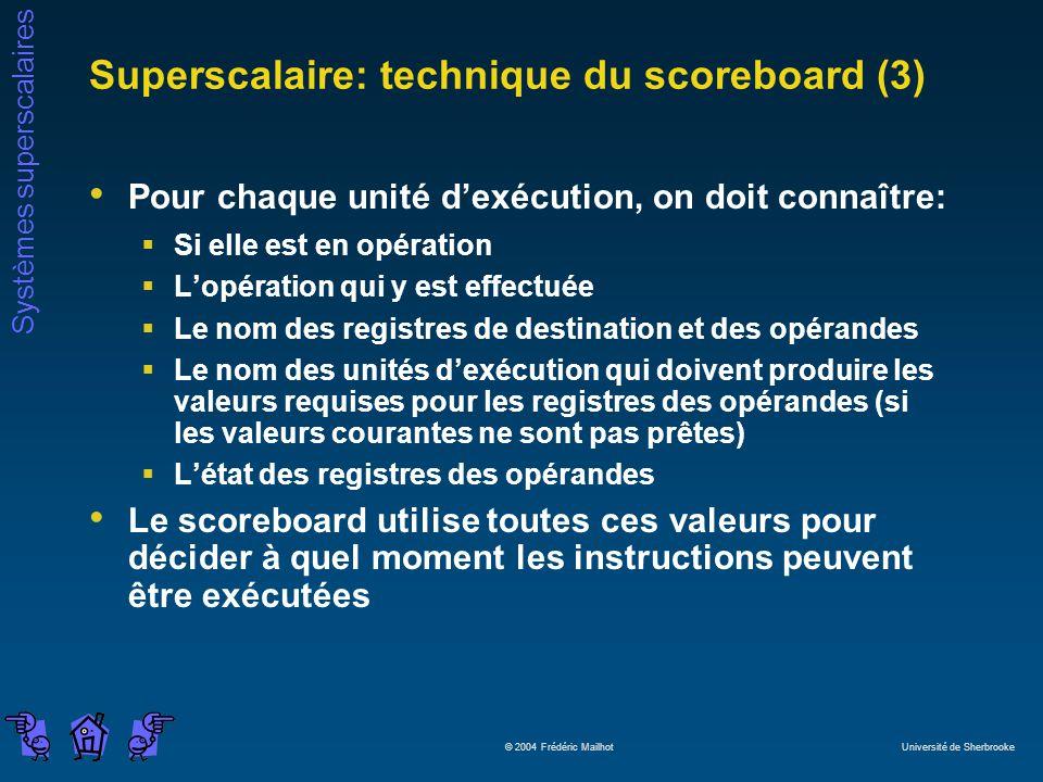 Systèmes superscalaires © 2004 Frédéric Mailhot Université de Sherbrooke Superscalaire: technique du scoreboard (3) Pour chaque unité dexécution, on d