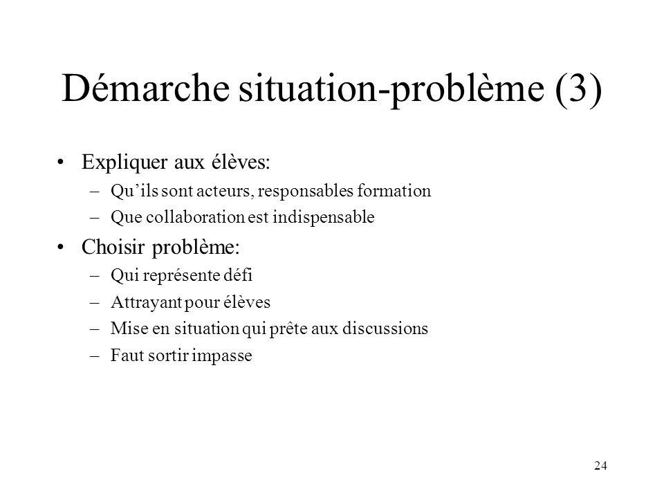 24 Démarche situation-problème (3) Expliquer aux élèves: –Quils sont acteurs, responsables formation –Que collaboration est indispensable Choisir prob