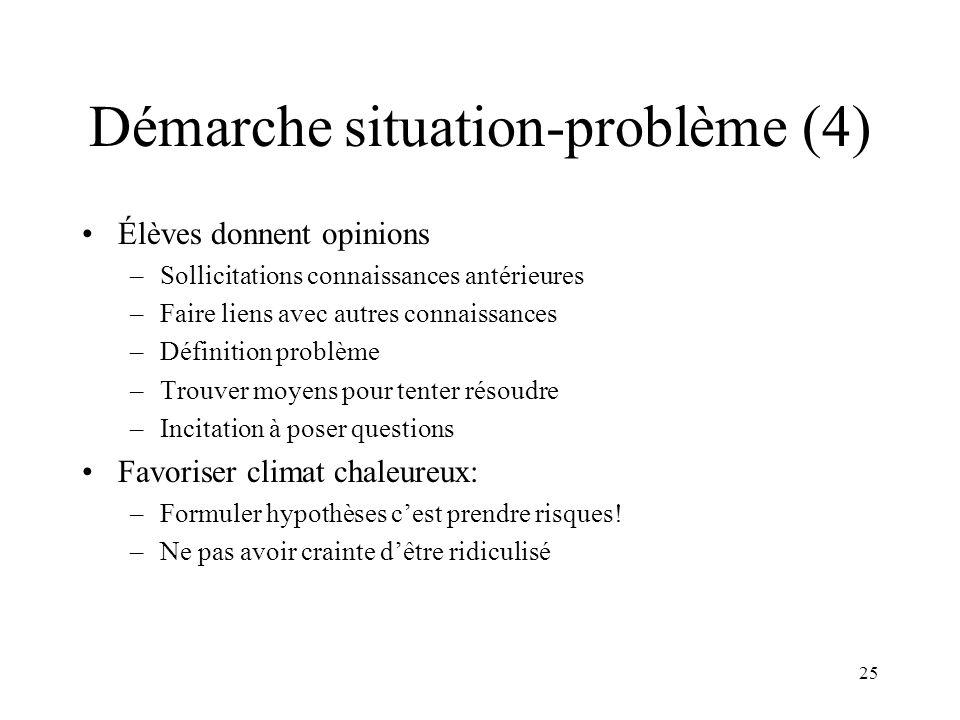 25 Démarche situation-problème (4) Élèves donnent opinions –Sollicitations connaissances antérieures –Faire liens avec autres connaissances –Définitio