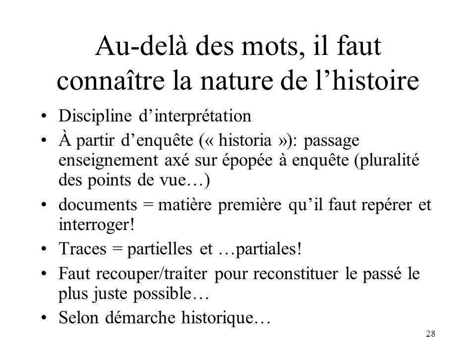 28 Au-delà des mots, il faut connaître la nature de lhistoire Discipline dinterprétation À partir denquête (« historia »): passage enseignement axé su