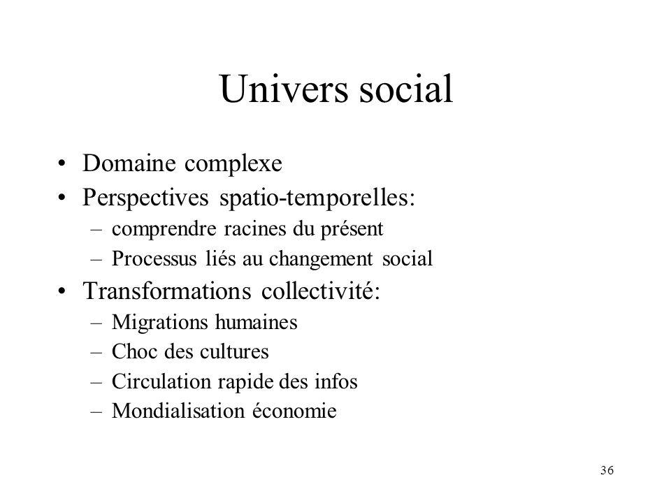 36 Univers social Domaine complexe Perspectives spatio-temporelles: –comprendre racines du présent –Processus liés au changement social Transformation