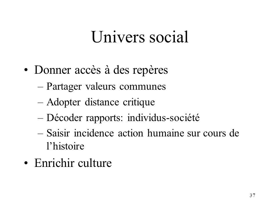 37 Univers social Donner accès à des repères –Partager valeurs communes –Adopter distance critique –Décoder rapports: individus-société –Saisir incide