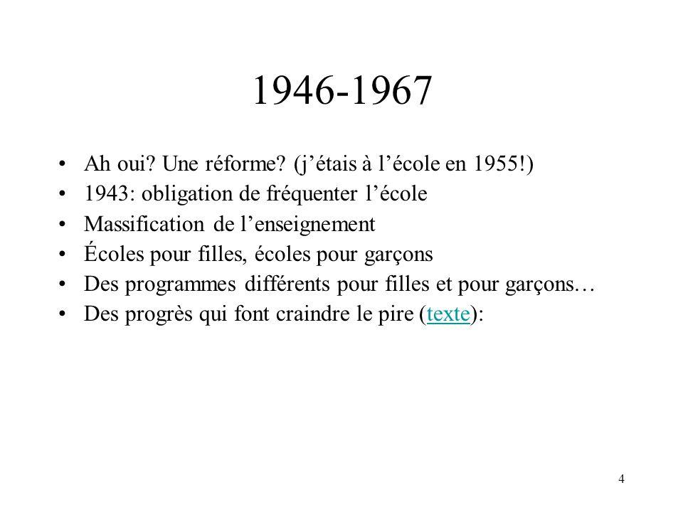 5 1946-1967 (suite) 1961: vaste enquête en éducation - rapport Parent 1964: création MEQ Tout un changement.