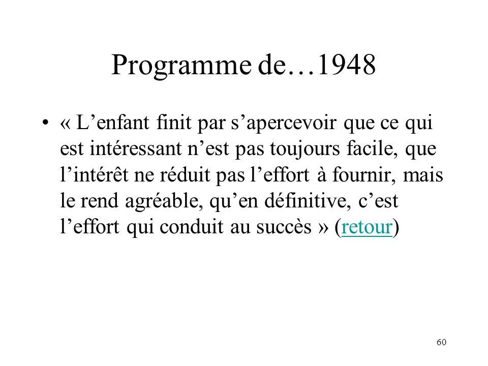 60 Programme de…1948 « Lenfant finit par sapercevoir que ce qui est intéressant nest pas toujours facile, que lintérêt ne réduit pas leffort à fournir