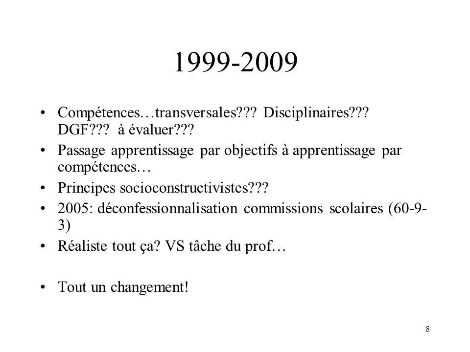 8 1999-2009 Compétences…transversales??? Disciplinaires??? DGF??? à évaluer??? Passage apprentissage par objectifs à apprentissage par compétences… Pr