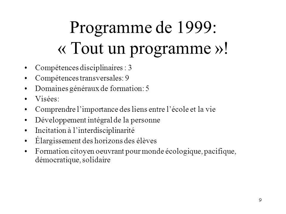 9 Programme de 1999: « Tout un programme »! Compétences disciplinaires : 3 Compétences transversales: 9 Domaines généraux de formation: 5 Visées: Comp