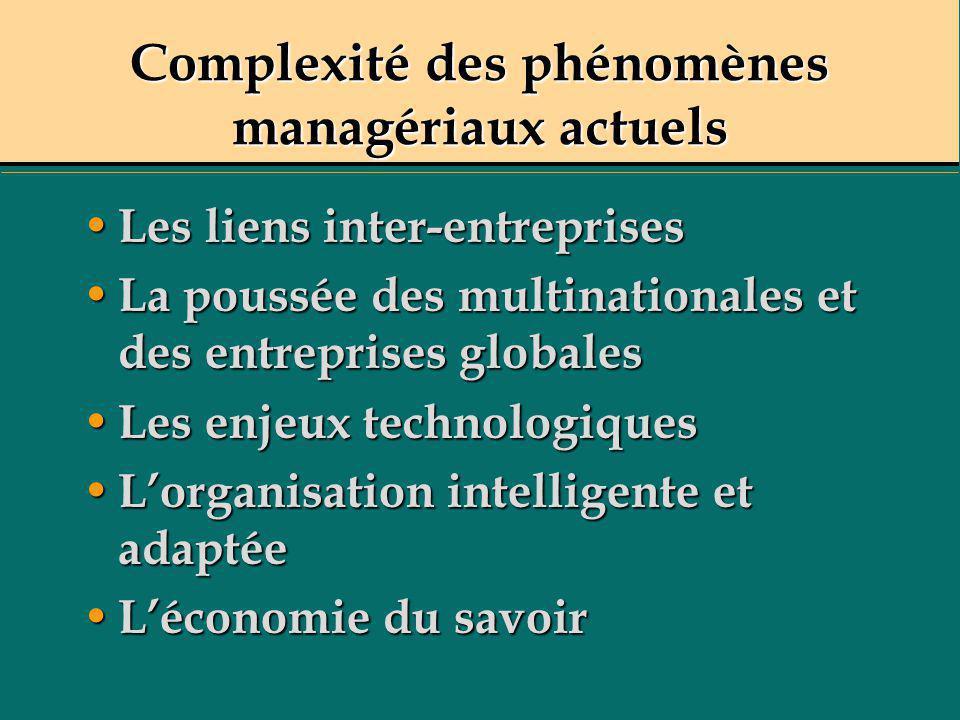 Complexité des phénomènes managériaux actuels Les liens inter-entreprises Les liens inter-entreprises La poussée des multinationales et des entreprise