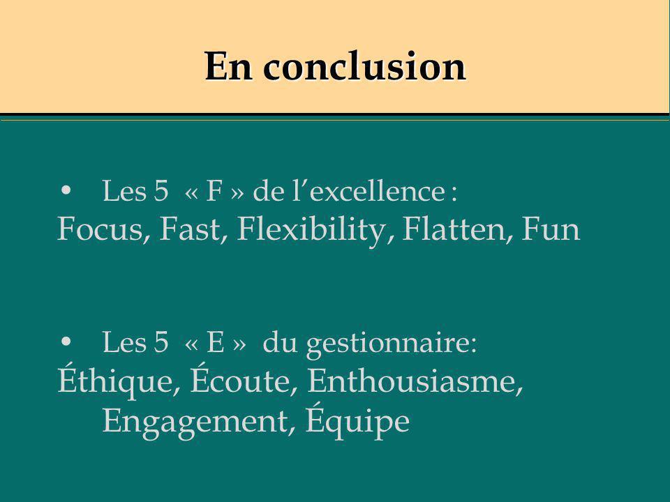 En conclusion Les 5 « F » de lexcellence : Focus, Fast, Flexibility, Flatten, Fun Les 5 « E » du gestionnaire: Éthique, Écoute, Enthousiasme, Engageme