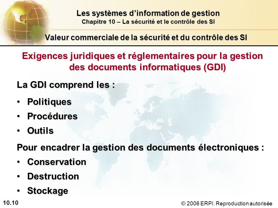 10.10 Les systèmes dinformation de gestion Chapitre 10 – La sécurité et le contrôle des SI © 2006 ERPI.