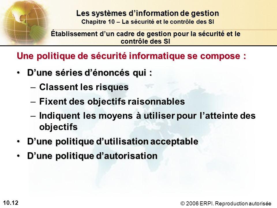 10.12 Les systèmes dinformation de gestion Chapitre 10 – La sécurité et le contrôle des SI © 2006 ERPI.