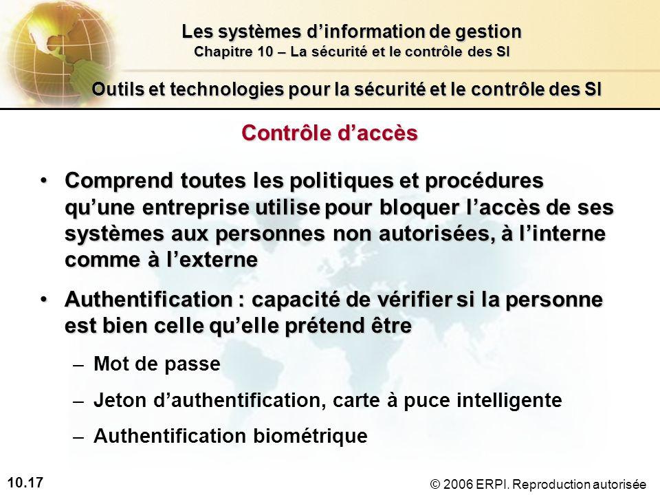 10.17 Les systèmes dinformation de gestion Chapitre 10 – La sécurité et le contrôle des SI © 2006 ERPI.