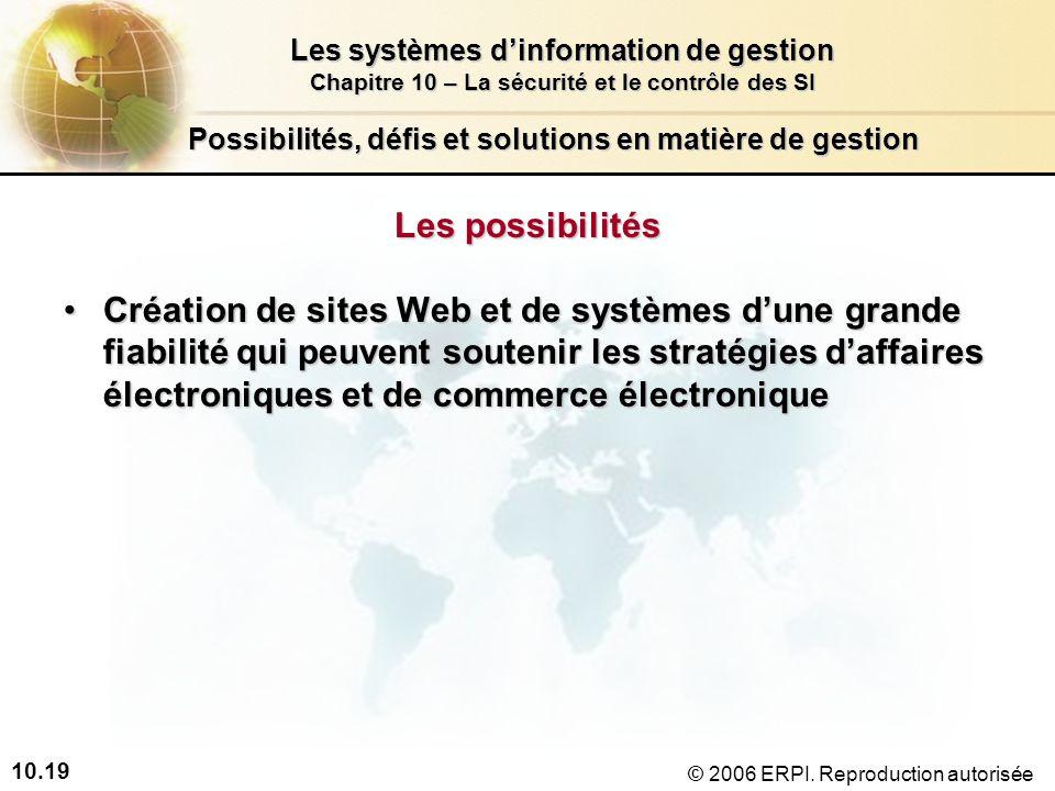 10.19 Les systèmes dinformation de gestion Chapitre 10 – La sécurité et le contrôle des SI © 2006 ERPI.
