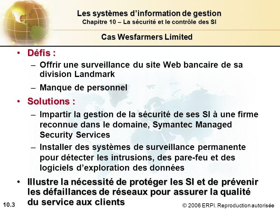 10.3 Les systèmes dinformation de gestion Chapitre 10 – La sécurité et le contrôle des SI © 2006 ERPI.