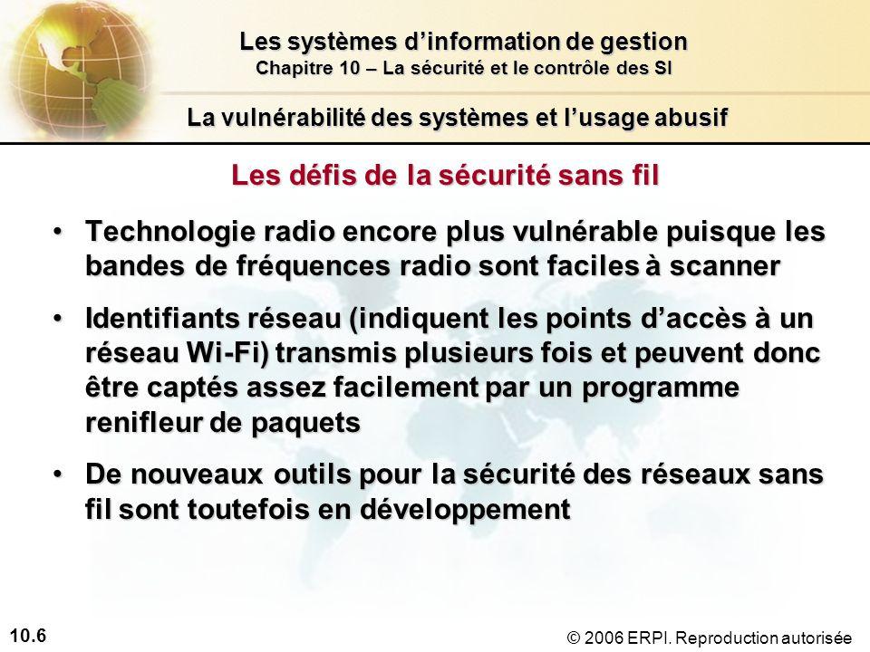10.6 Les systèmes dinformation de gestion Chapitre 10 – La sécurité et le contrôle des SI © 2006 ERPI.