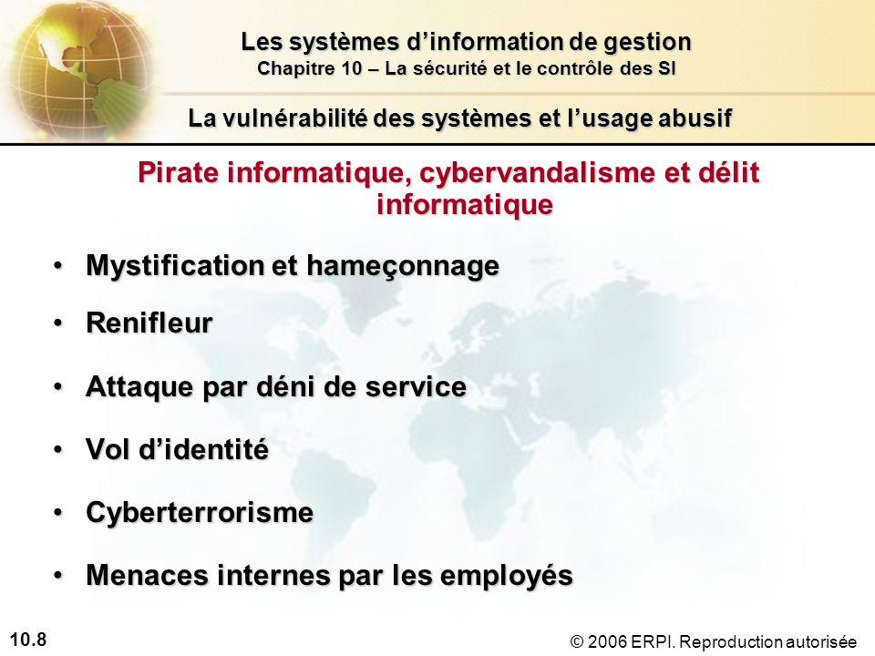 10.8 Les systèmes dinformation de gestion Chapitre 10 – La sécurité et le contrôle des SI © 2006 ERPI.