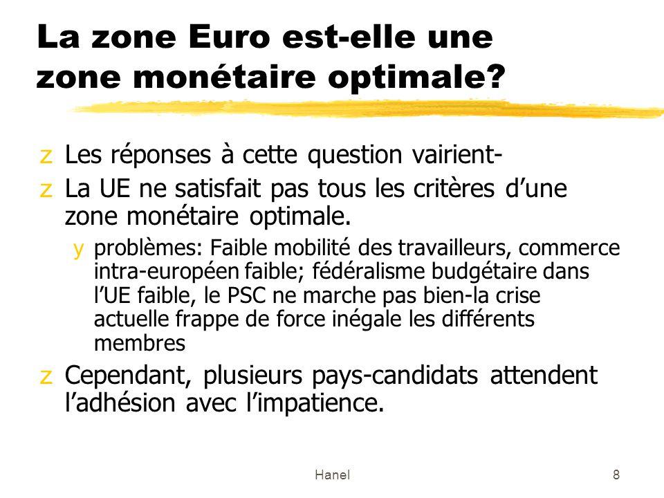 8 La zone Euro est-elle une zone monétaire optimale? zLes réponses à cette question vairient- zLa UE ne satisfait pas tous les critères dune zone moné