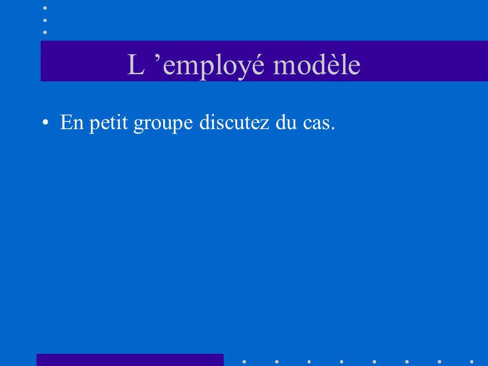 L employé modèle En petit groupe discutez du cas.