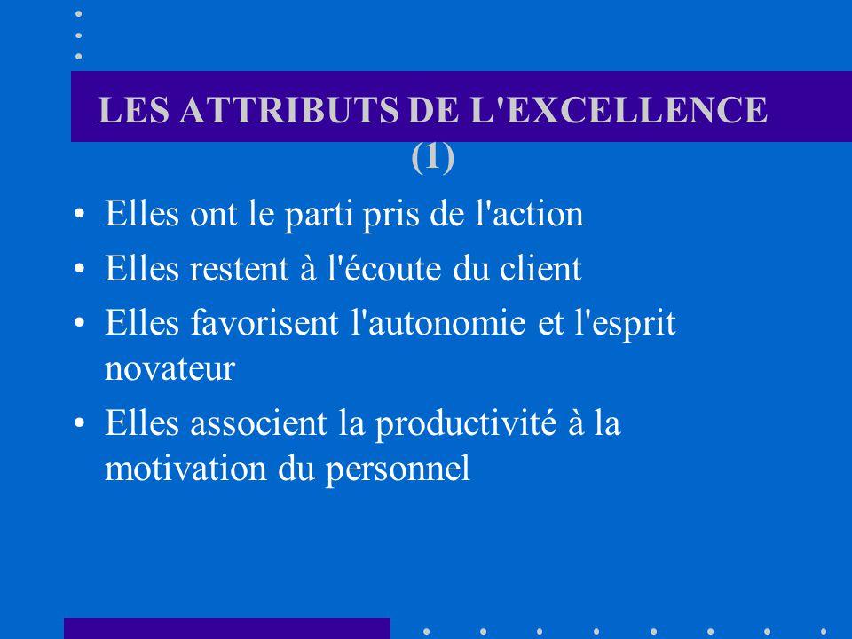 LES ATTRIBUTS DE L EXCELLENCE (1) Elles ont le parti pris de l action Elles restent à l écoute du client Elles favorisent l autonomie et l esprit novateur Elles associent la productivité à la motivation du personnel