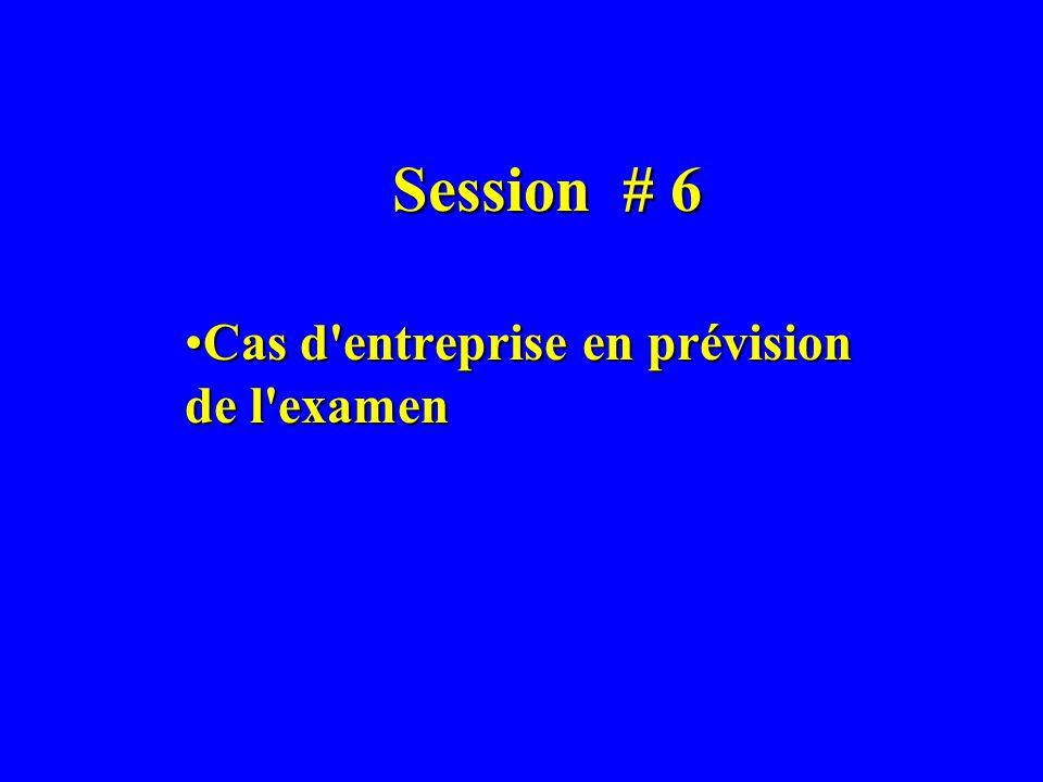 Session # 6 Cas d'entreprise en prévision de l'examenCas d'entreprise en prévision de l'examen