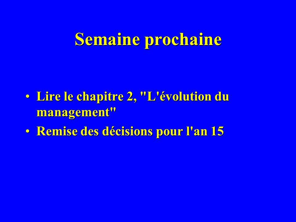 Semaine prochaine Lire le chapitre 2, L évolution du management Lire le chapitre 2, L évolution du management Remise des décisions pour l an 15Remise des décisions pour l an 15