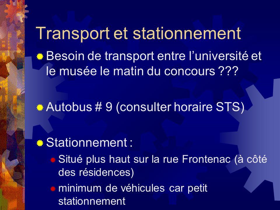 Transport et stationnement Besoin de transport entre luniversité et le musée le matin du concours ??? Autobus # 9 (consulter horaire STS) Stationnemen