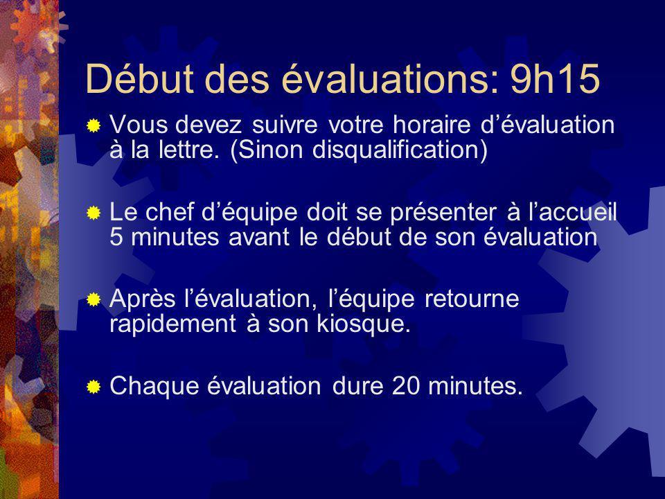 Début des évaluations: 9h15 Vous devez suivre votre horaire dévaluation à la lettre. (Sinon disqualification) Le chef déquipe doit se présenter à lacc