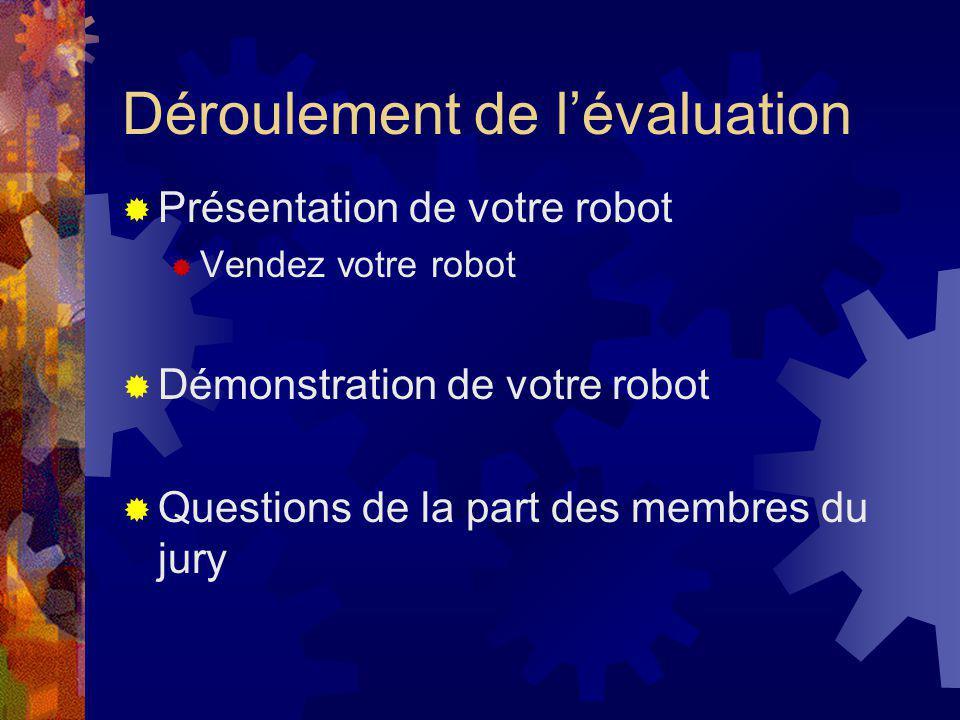 Déroulement de lévaluation Présentation de votre robot Vendez votre robot Démonstration de votre robot Questions de la part des membres du jury