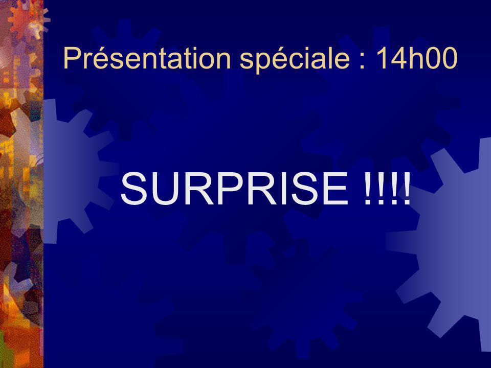 Présentation spéciale : 14h00 SURPRISE !!!!