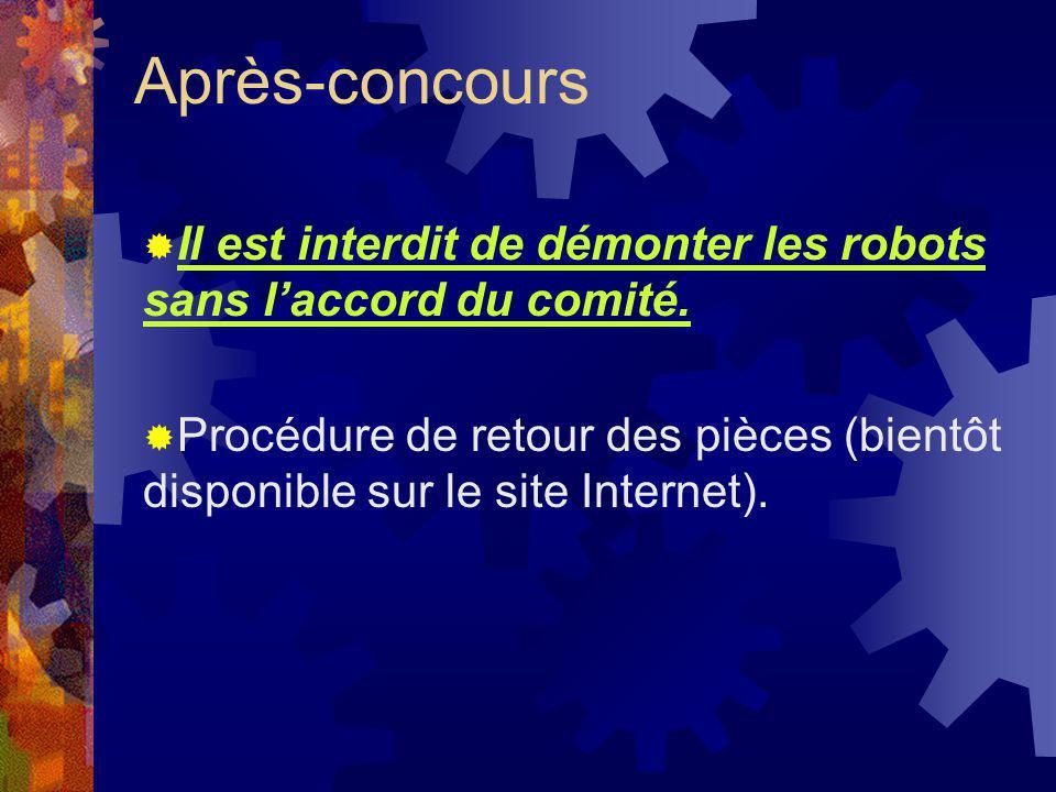 Après-concours Il est interdit de démonter les robots sans laccord du comité. Procédure de retour des pièces (bientôt disponible sur le site Internet)