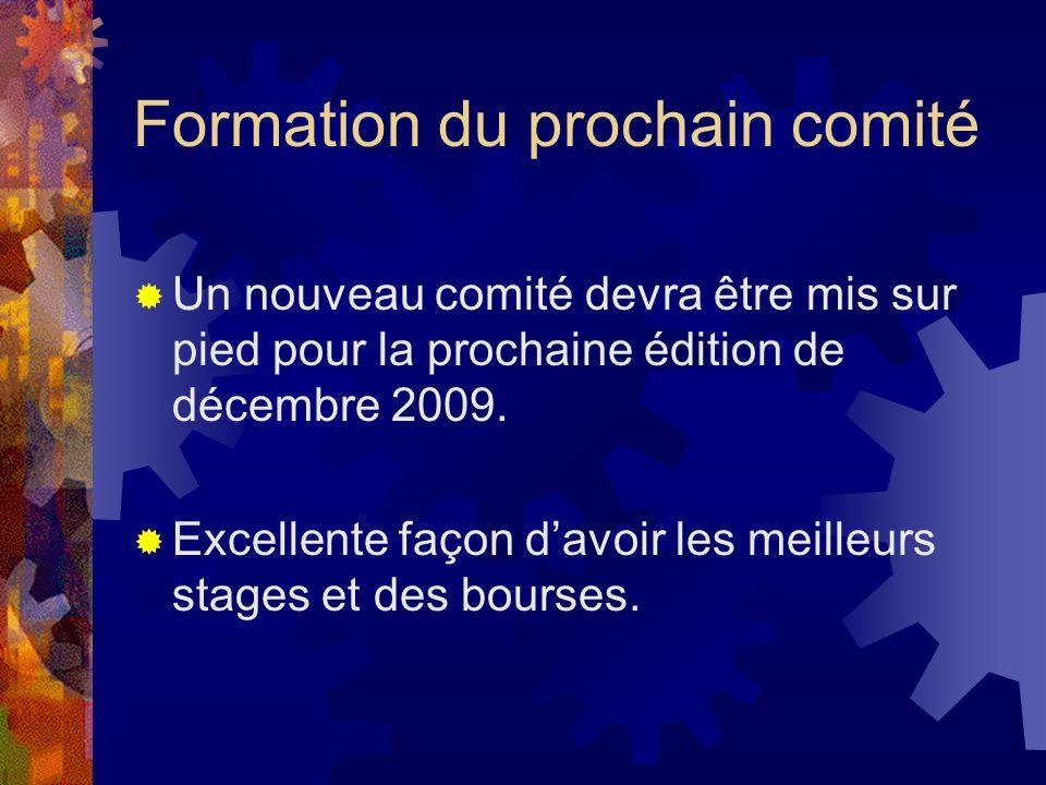 Formation du prochain comité Un nouveau comité devra être mis sur pied pour la prochaine édition de décembre 2009. Excellente façon davoir les meilleu