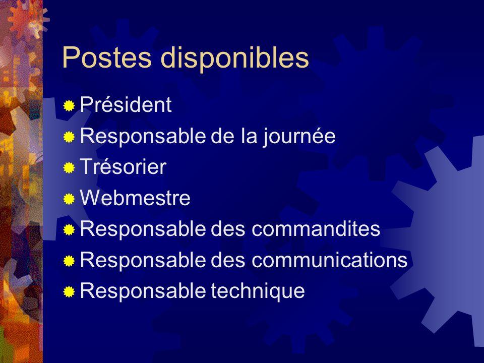 Président Responsable de la journée Trésorier Webmestre Responsable des commandites Responsable des communications Responsable technique Postes dispon