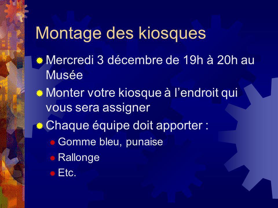 Montage des kiosques Mercredi 3 décembre de 19h à 20h au Musée Monter votre kiosque à lendroit qui vous sera assigner Chaque équipe doit apporter : Gomme bleu, punaise Rallonge Etc.