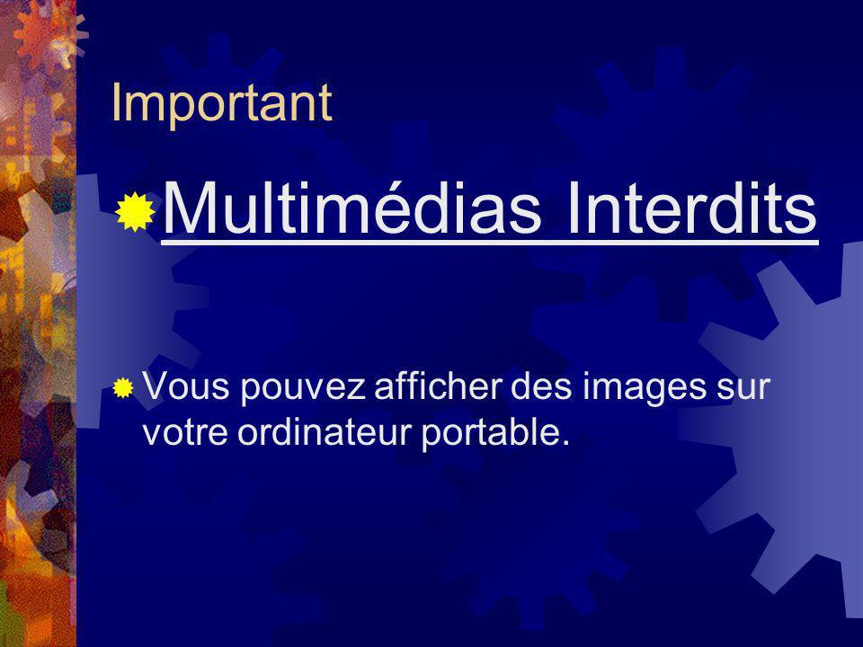 Important Multimédias Interdits Vous pouvez afficher des images sur votre ordinateur portable.