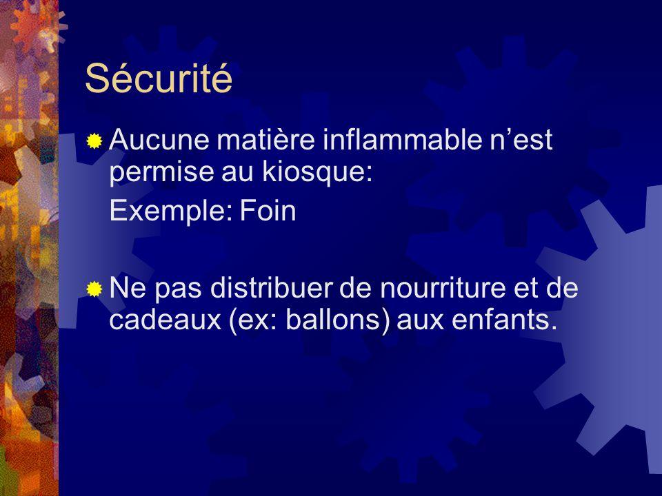 Sécurité Aucune matière inflammable nest permise au kiosque: Exemple: Foin Ne pas distribuer de nourriture et de cadeaux (ex: ballons) aux enfants.