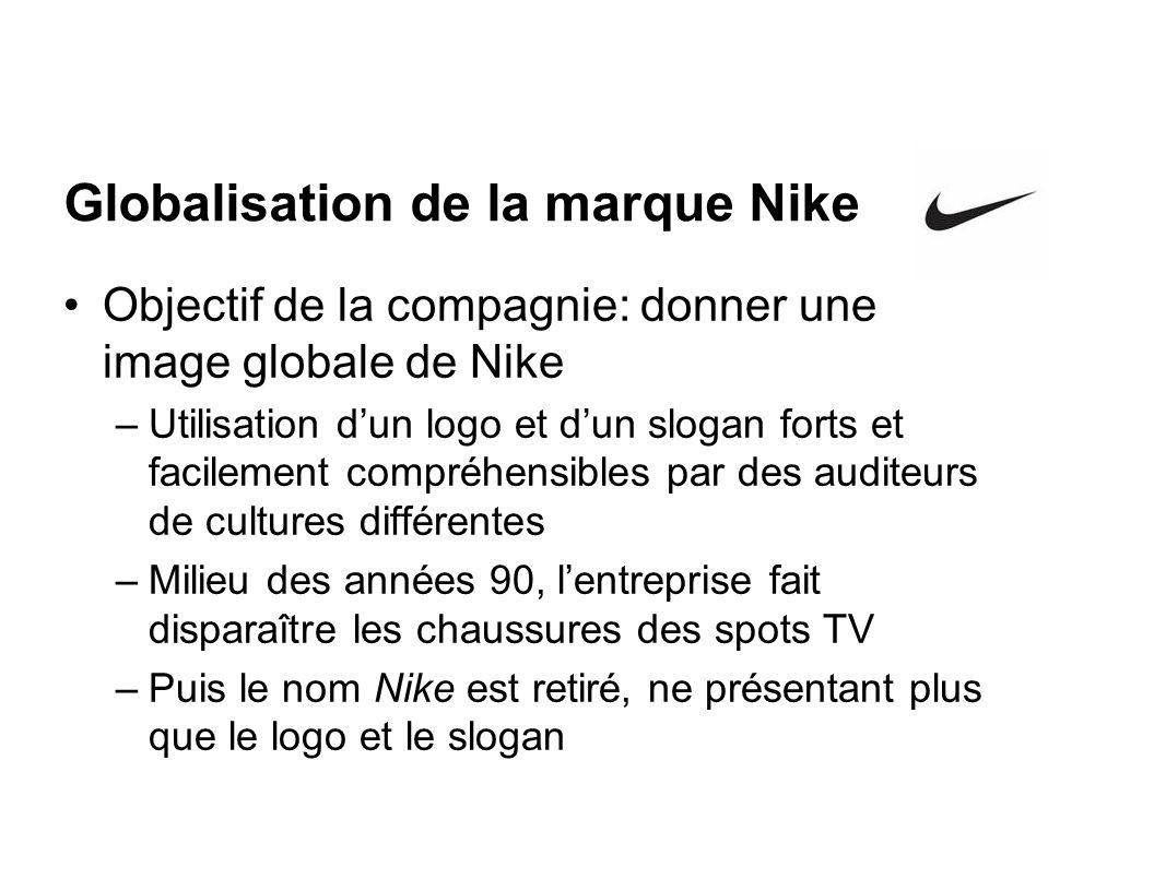 Globalisation de la marque Nike Objectif de la compagnie: donner une image globale de Nike –Utilisation dun logo et dun slogan forts et facilement com