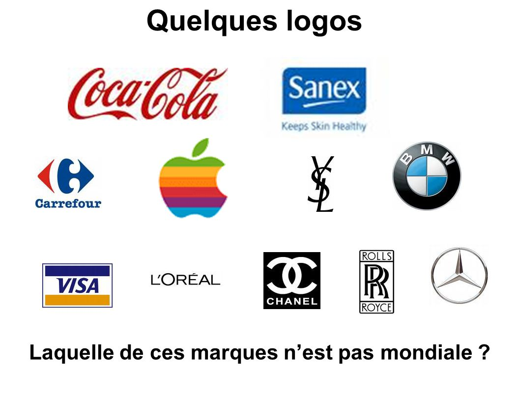 Quelques logos Laquelle de ces marques nest pas mondiale ?