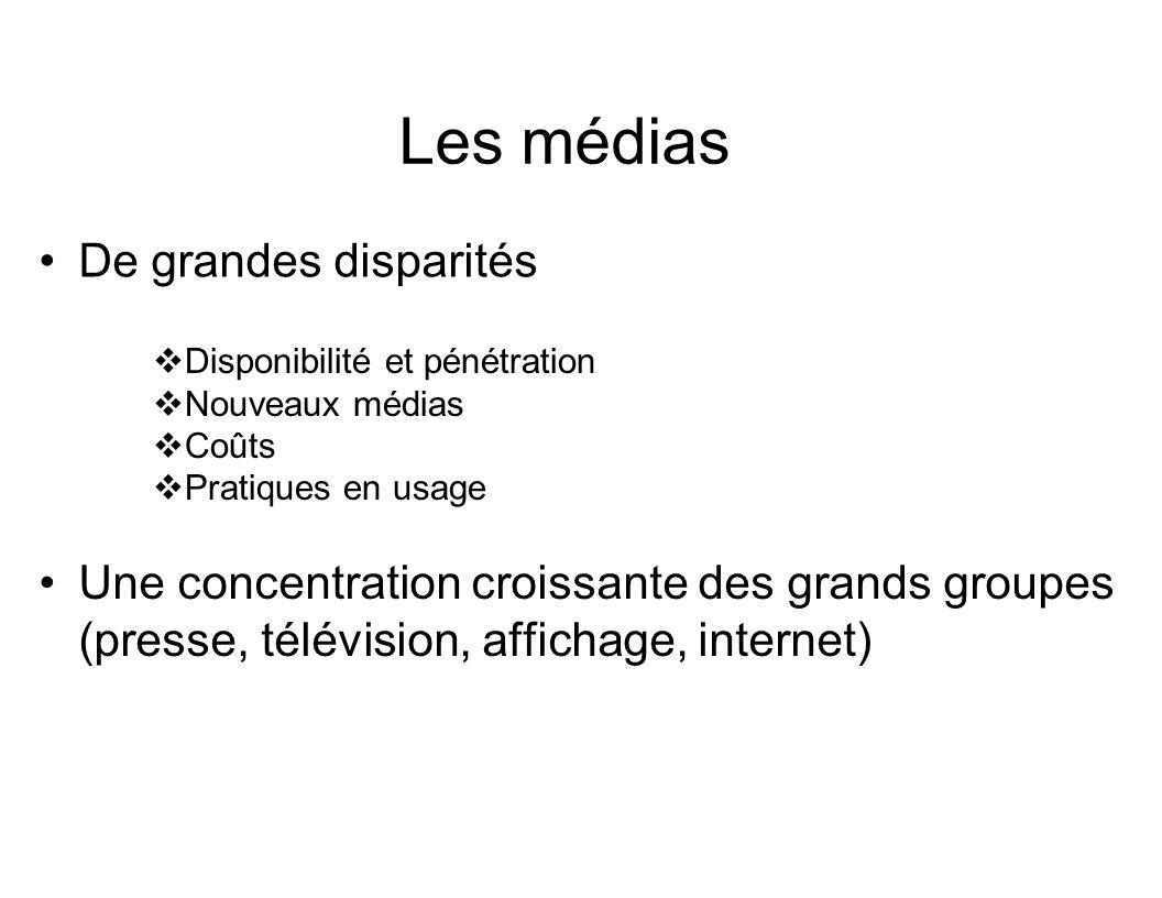 Les médias De grandes disparités Disponibilité et pénétration Nouveaux médias Coûts Pratiques en usage Une concentration croissante des grands groupes