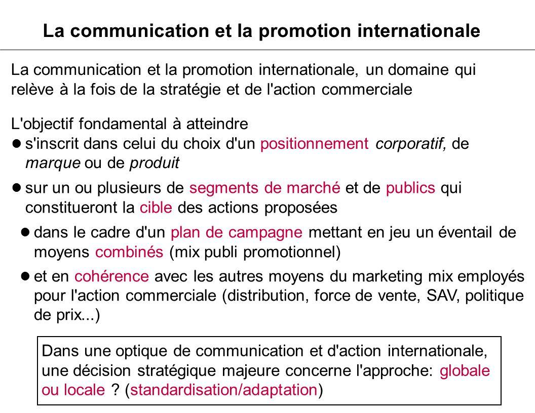 La communication et la promotion internationale, un domaine qui relève à la fois de la stratégie et de l'action commerciale L'objectif fondamental à a