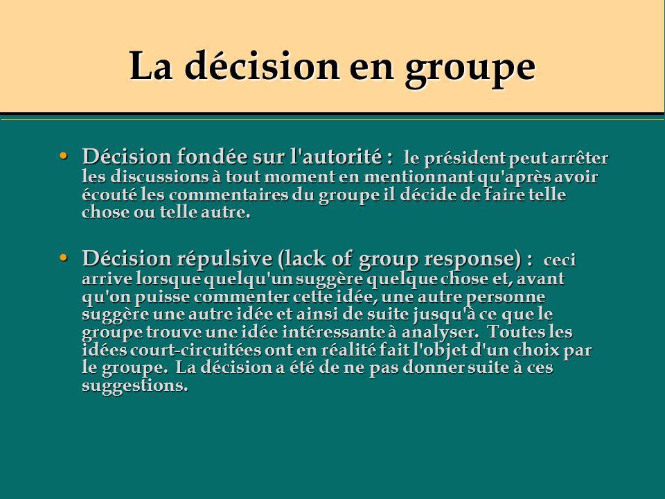 La décision en groupe Décision fondée sur l'autorité : le président peut arrêter les discussions à tout moment en mentionnant qu'après avoir écouté le