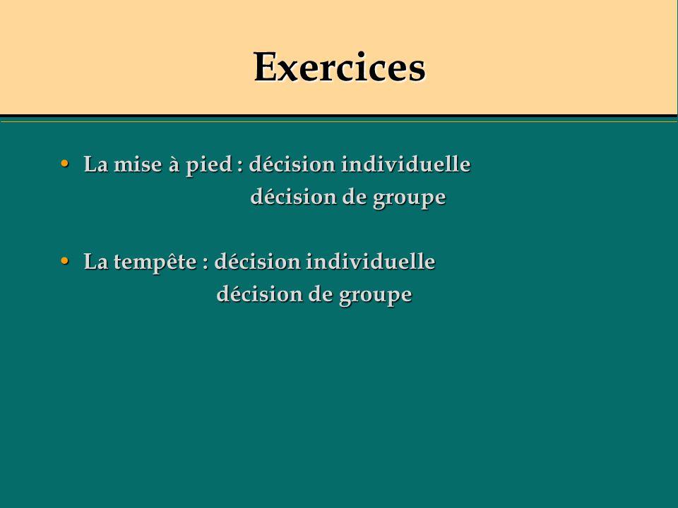 Exercices La mise à pied : décision individuelle La mise à pied : décision individuelle décision de groupe décision de groupe La tempête : décision in
