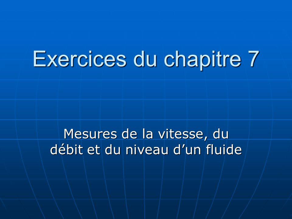 Exercices du chapitre 7 Mesures de la vitesse, du débit et du niveau dun fluide