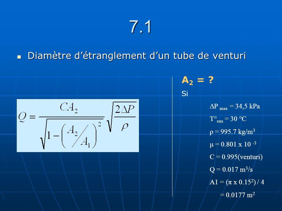 7.1 Diamètre détranglement dun tube de venturi Diamètre détranglement dun tube de venturi A 2 = ? Si ΔP max = 34,5 kPa T° eau = 30 °C ρ = 995.7 kg/m 3