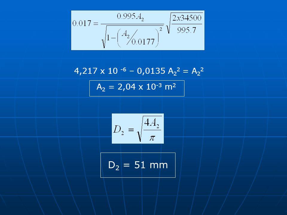 4,217 x 10 -6 – 0,0135 A 2 2 = A 2 2 A 2 = 2,04 x 10 -3 m 2 D 2 = 51 mm