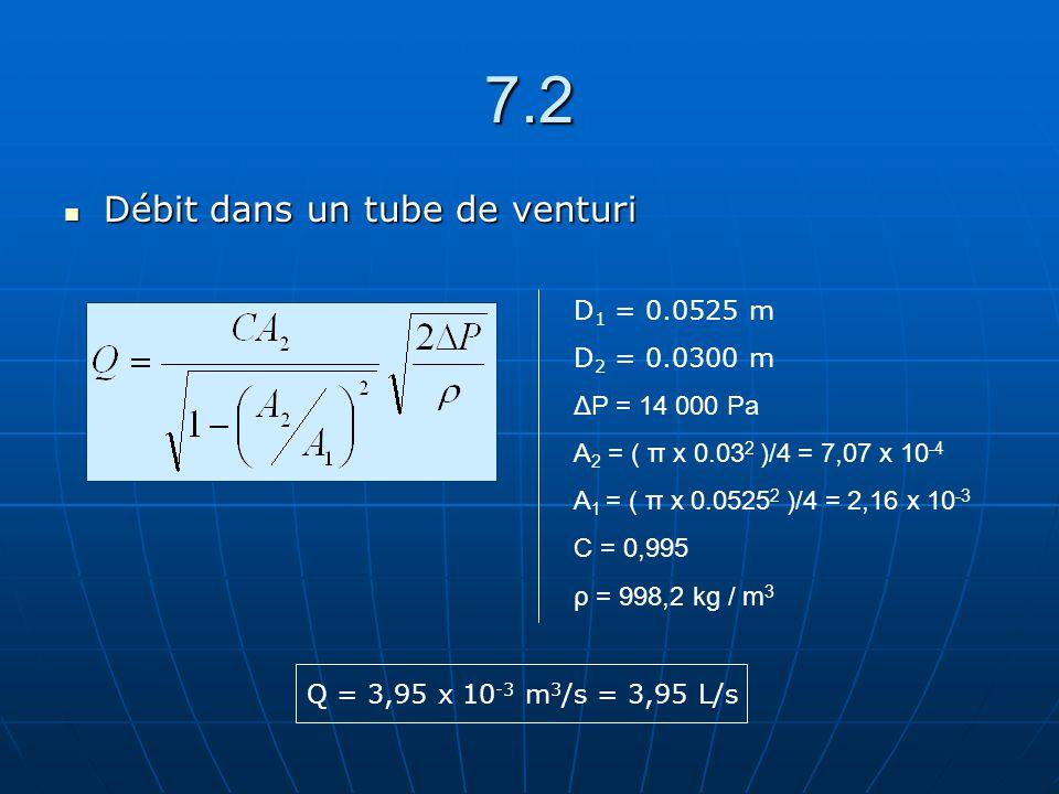 7.2 Débit dans un tube de venturi Débit dans un tube de venturi D 1 = 0.0525 m D 2 = 0.0300 m ΔP = 14 000 Pa A 2 = ( π x 0.03 2 )/4 = 7,07 x 10 -4 A 1