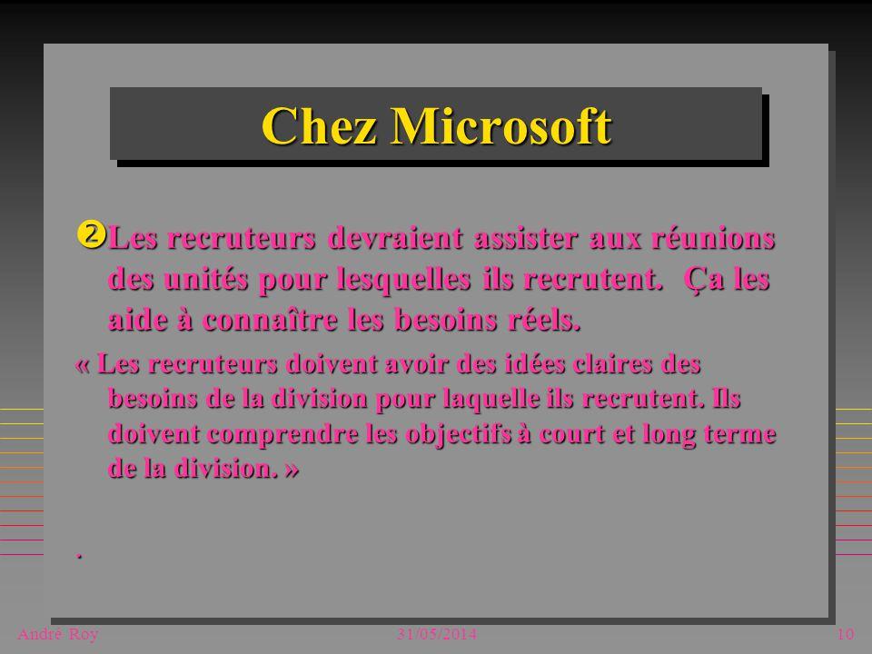 André Roy31/05/201410 Chez Microsoft Les recruteurs devraient assister aux réunions des unités pour lesquelles ils recrutent.