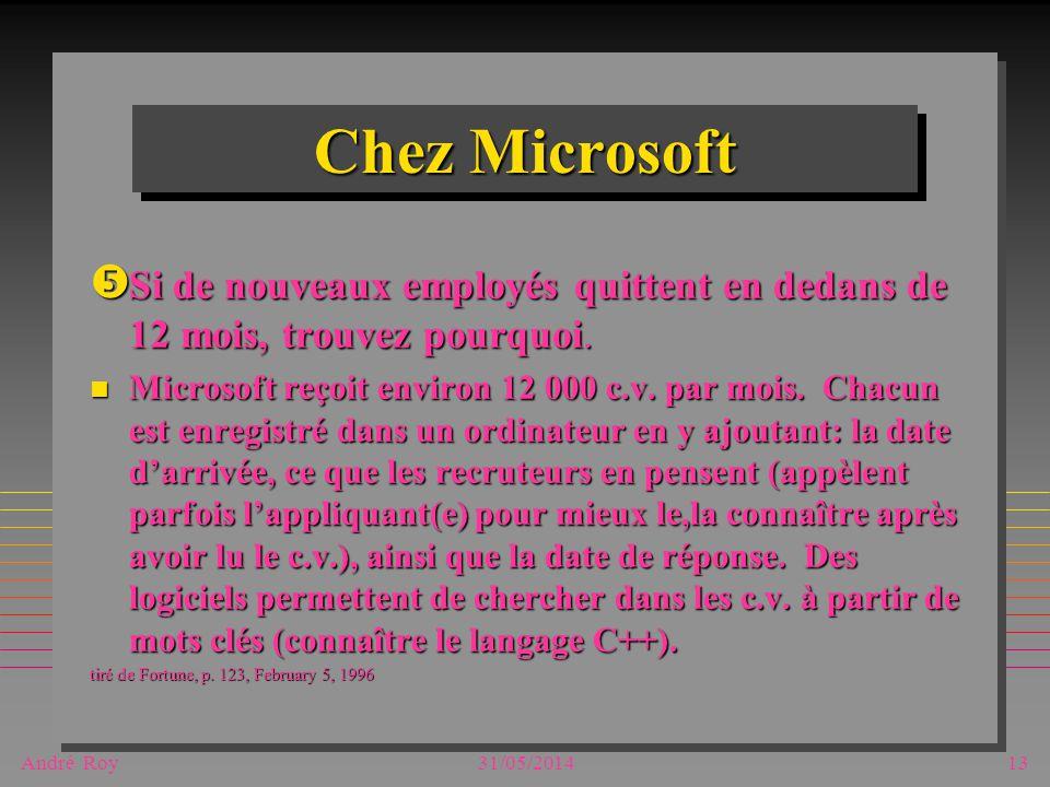 André Roy31/05/201413 Chez Microsoft Si de nouveaux employés quittent en dedans de 12 mois, trouvez pourquoi. Si de nouveaux employés quittent en deda