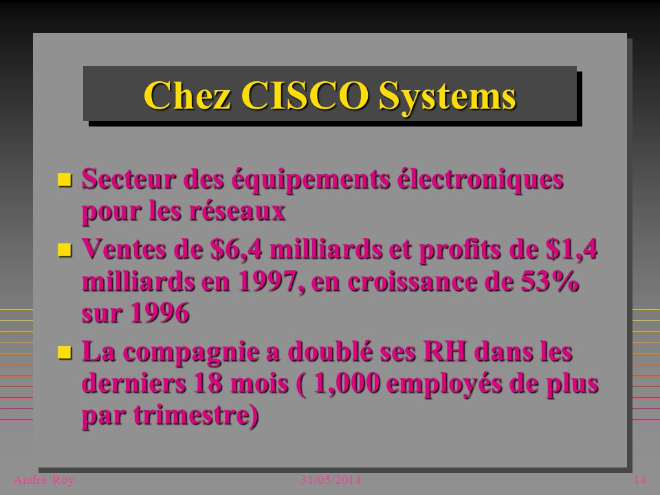 André Roy31/05/201414 Chez CISCO Systems n Secteur des équipements électroniques pour les réseaux n Ventes de $6,4 milliards et profits de $1,4 milliards en 1997, en croissance de 53% sur 1996 n La compagnie a doublé ses RH dans les derniers 18 mois ( 1,000 employés de plus par trimestre)